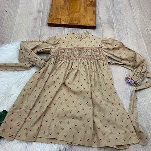 Vintage Floral Empire Long Sleeve Smock Dress 3234